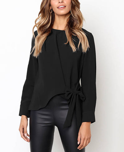 Long Sleeve Solid Color Bow Tie Blouse