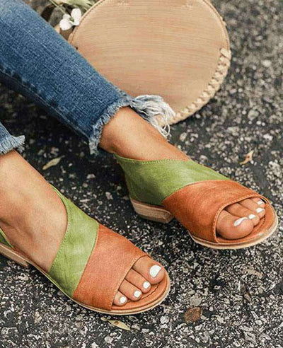 Patchwork Slip on Summer Sandals-1