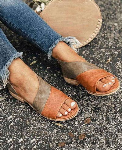 Patchwork Slip on Summer Sandals-2
