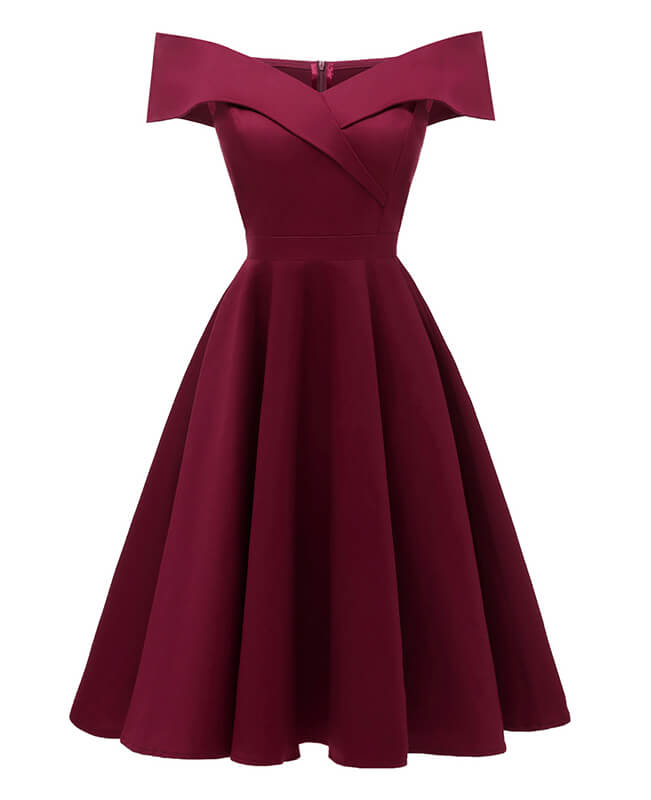 Off shoulder A-Line Cocktail Vintage Dress