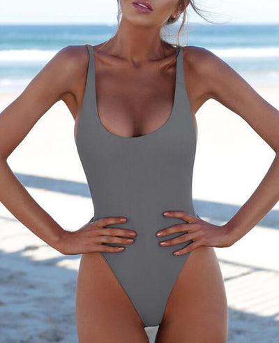 Solid Color One Piece Swimsuit Bikini