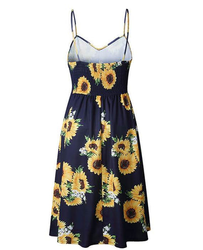Sunflower Pineapple Floral Buttons Sleeveless Dress