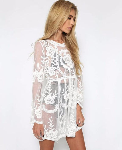 Sexy Lace Full Sleeve Sun-protective Beach Dresses