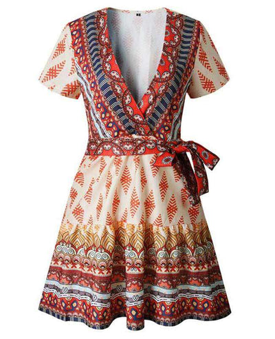 Bohemian Floral Print Ruffle Mini Dress-15
