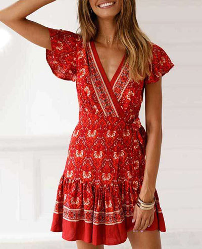 Bohemian Floral Print Ruffle Mini Dress-3