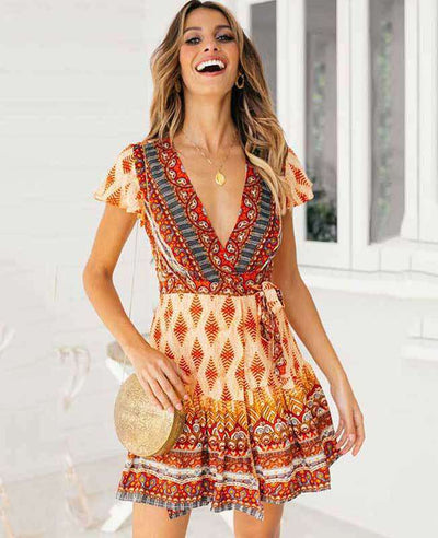Bohemian Floral Print Ruffle Mini Dress-5