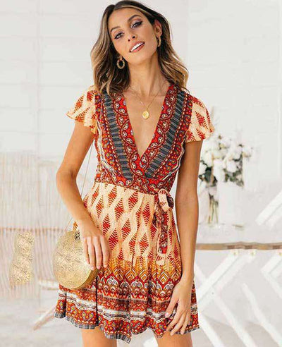 Bohemian Floral Print Ruffle Mini Dress-1