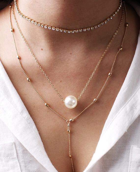 Boho Simulated Pearl Crystal Chokers Necklace