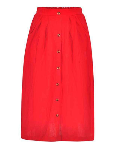 Button Down A-line Midi Skirt