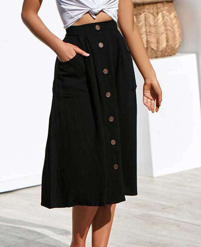 Button Down A-line Midi Skirt-1-3