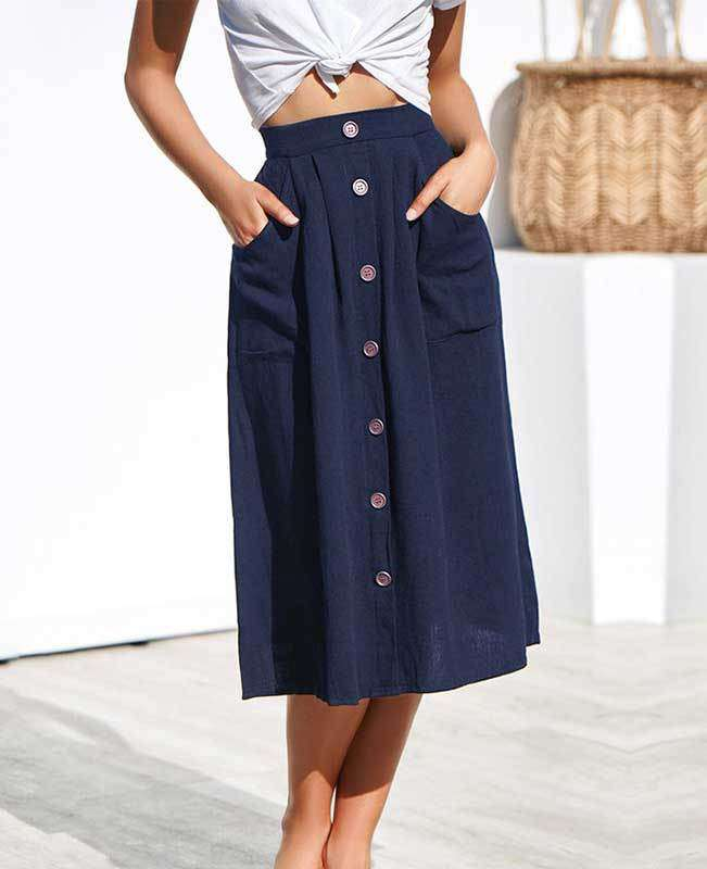 Button Down A-line Midi Skirt-1