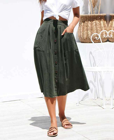 Button Down A-line Midi Skirt-7
