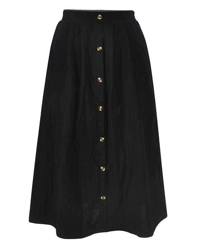 Button Down A-line Midi Skirt-9