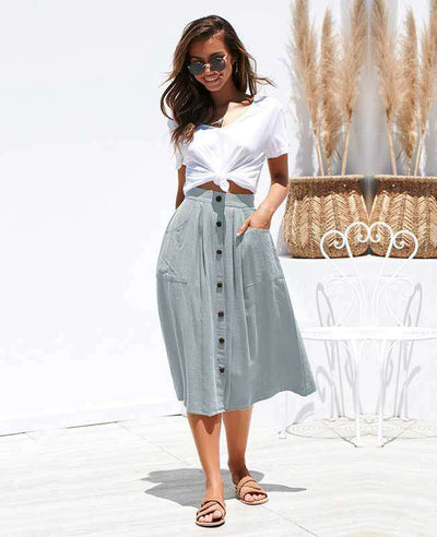 Button Down A-line Midi Skirt-6