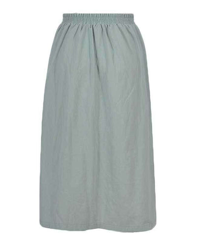 Button Down A-line Midi Skirt-10
