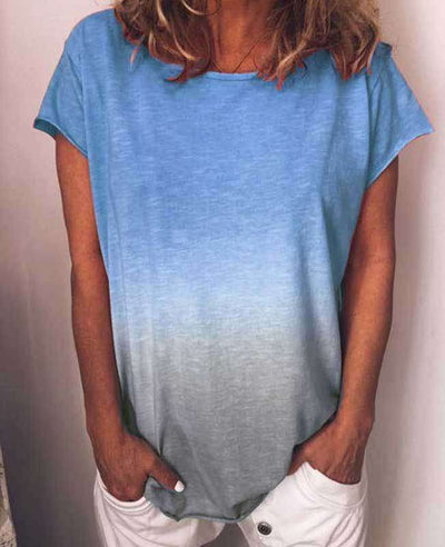 Change Color Round Neck T-shirt-3