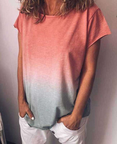 Change Color Round Neck T-shirt-2