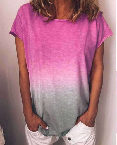 Change Color Round Neck T-shirt-1