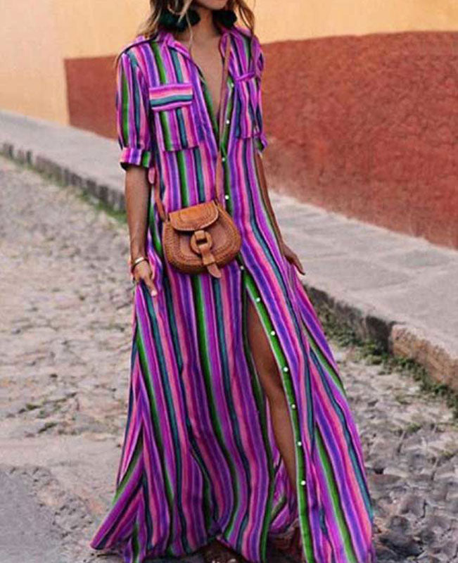 Colorful Striped Boho Long Dresses