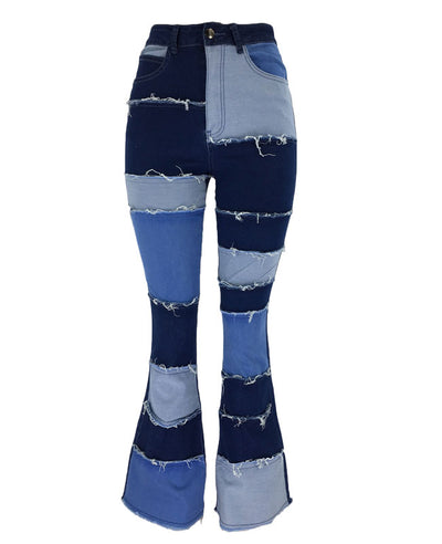 Patchwork Jeans Women Ripped Jeans