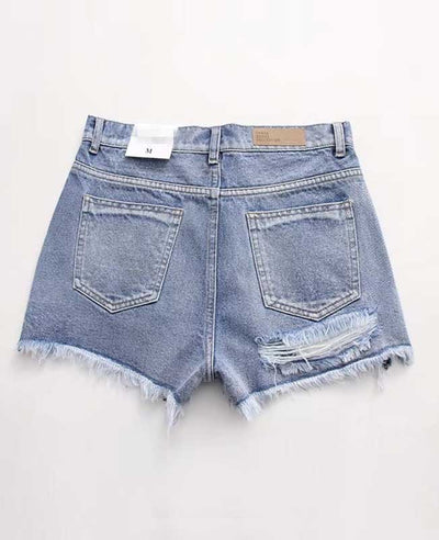 Push Up Ripped Jeans Shorts-3
