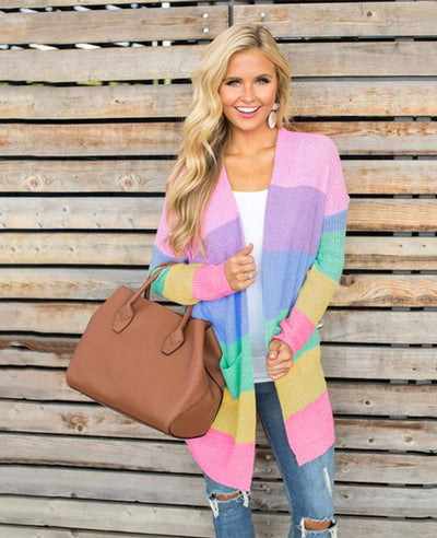 Rainbow Color Oversized Knitted Sweater