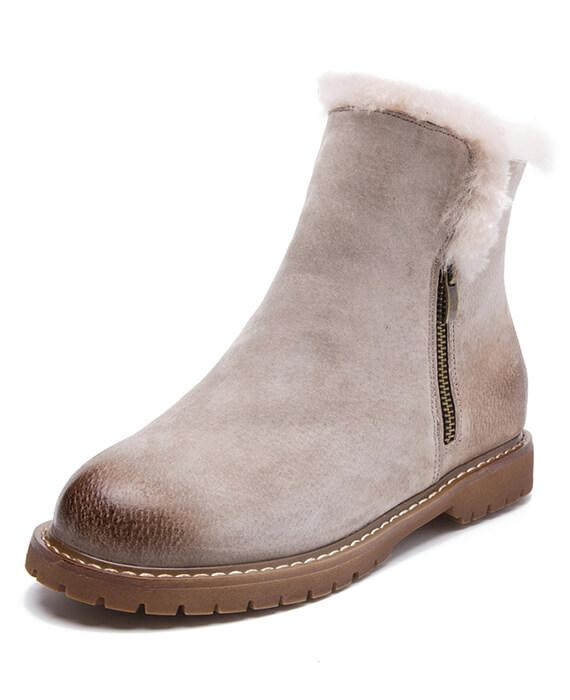 74ca5c00960a2 Suede Plush Cashmere Warm Ankle Boots - Seamido
