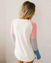 Women's Round Neck Long Sleeve Color Block Striped Tops