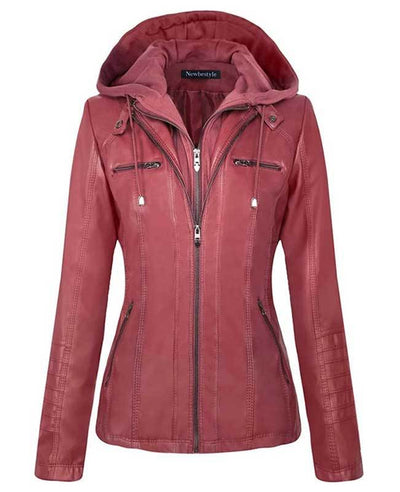 Womens Red Faux Leather Jacket with Hood-1