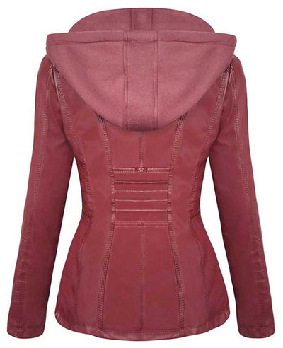 Womens Red Faux Leather Jacket with Hood-2