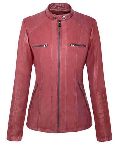 Womens Red Faux Leather Jacket with Hood-3