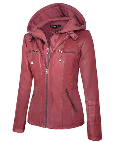 Womens Red Faux Leather Jacket with Hood-4