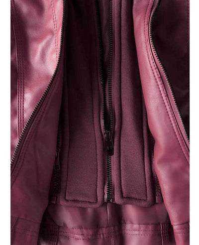 Womens Red Faux Leather Jacket with Hood-6