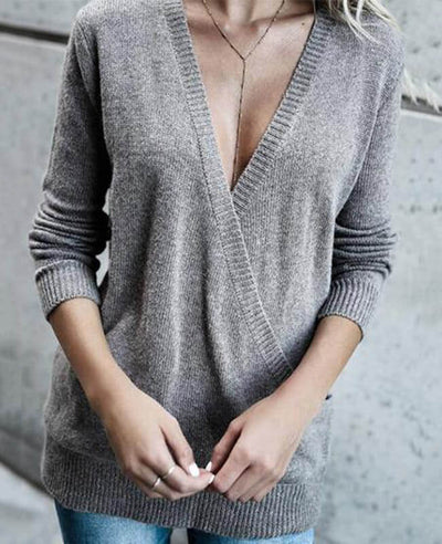 Solid Color Cross Deep V-Neck Sweater-6