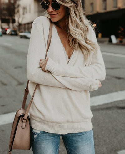 Solid Color Cross Deep V-Neck Sweater-5