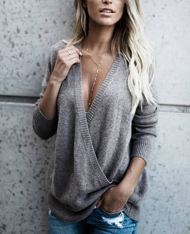 Wrap Front Deep V-Neck Sweater