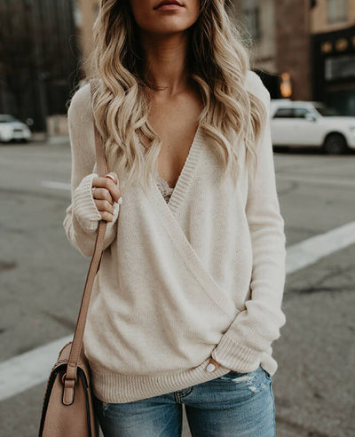 Solid Color Cross Deep V-Neck Sweater-1