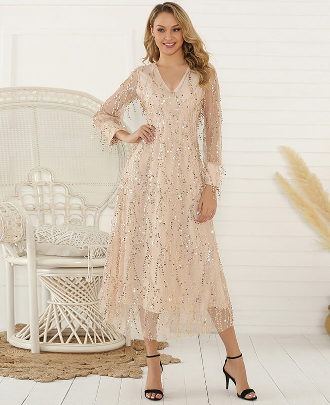 Sequin Tassel Women's Long sleeve Maxi Dress