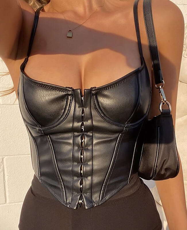Sexy Deep V-Neck Corset Crop Top