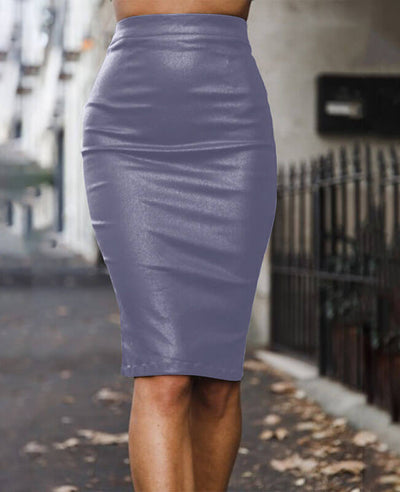 Sexy Black Leather Pencil Skirt-3