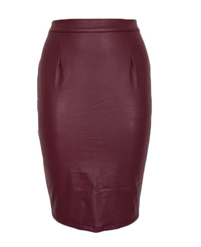 Sexy Black Leather Pencil Skirt-4