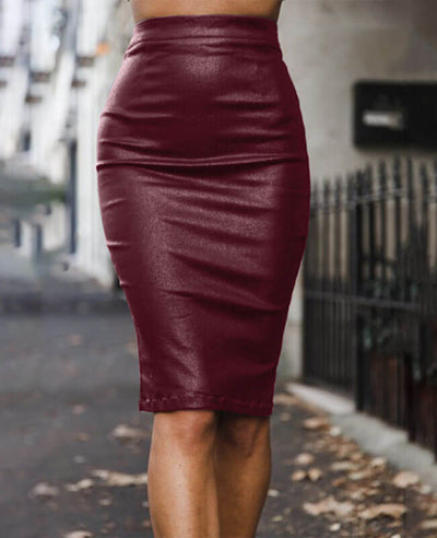 Sexy Black Leather Pencil Skirt-2