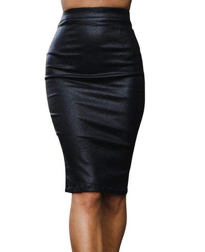 Sexy Black Leather Pencil Skirt-1