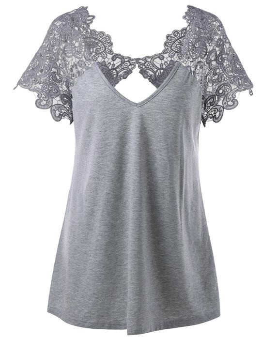 Sexy Lace Backless T-shirt Casual Loose Tee Blouse