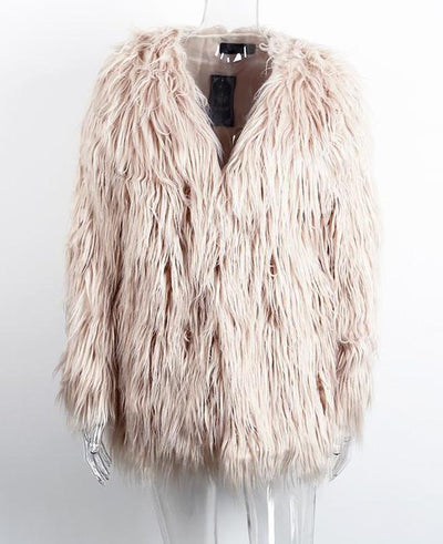 Women Fluffy Warm Long Sleeve Female Outerwear