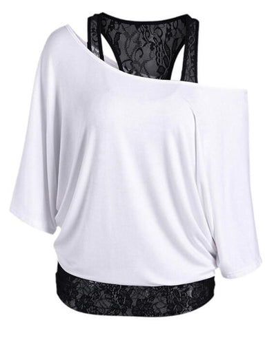 Skew Collar Lace Trim Casual T-shirt  Top Tees