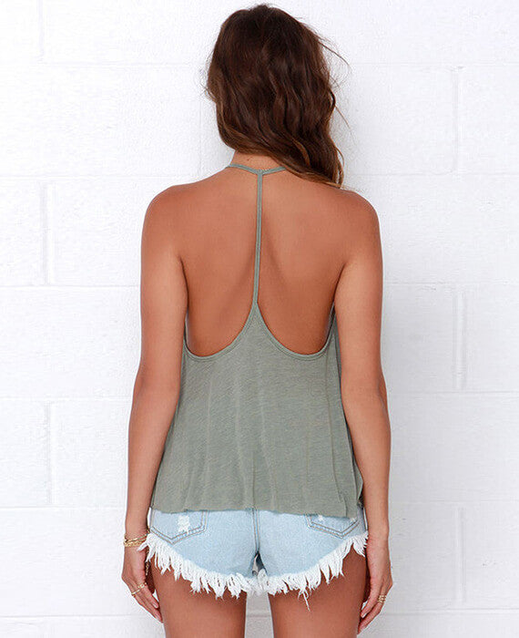Solid Color Back Bandage T-shirt Tank