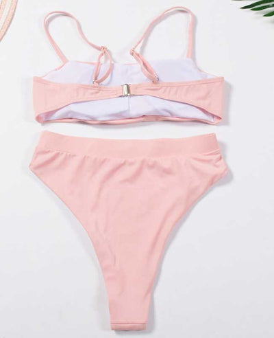 Spaghetti Strap High Waisted Bikini Set