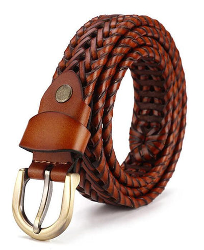 Strap Jeans Pin Buckle Vintage Weaving Leather Belts