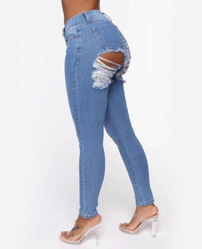 Stretch Butt Ripped Jeans Slim Skinny Butt Lifting Jeans